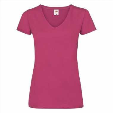 Basic v hals katoenen t shirt fuchsia dames