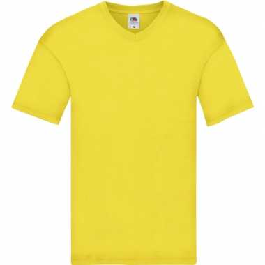 Basic v hals katoenen t shirt geel heren