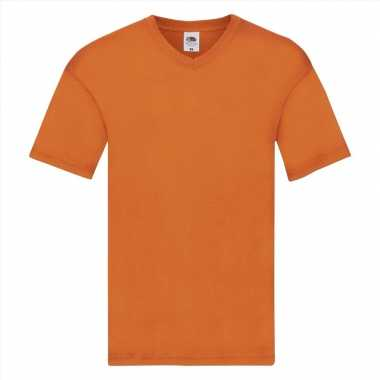 Basic v hals katoenen t shirt oranje heren