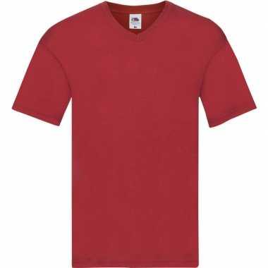 Basic v hals katoenen t shirt rood heren