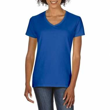 Basic v hals t shirt blauw dames