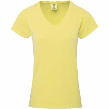 Basic v hals t shirt comfort colors geel dames