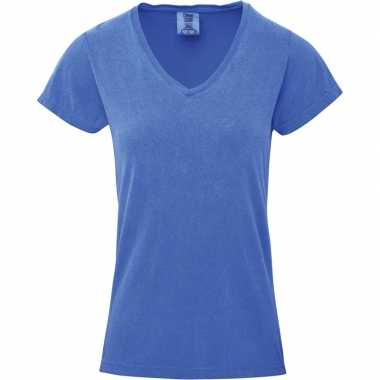 Basic v hals t shirt comfort colors licht blauw dames