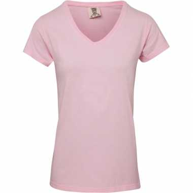 Basic v hals t shirt comfort colors licht roze dames