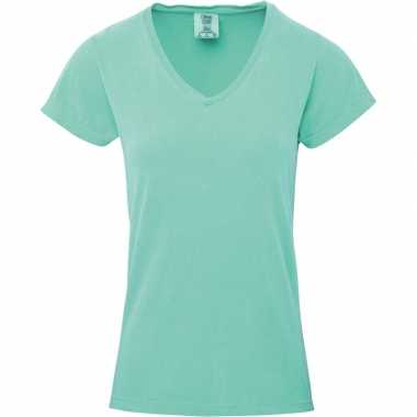 Basic v hals t shirt comfort colors mint groen dames