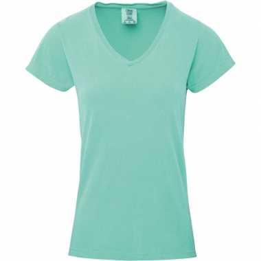 Basic v hals t shirt comfort colors mint groen dames