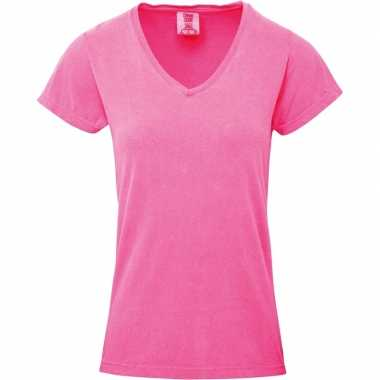 Basic v hals t shirt comfort colors neon roze dames