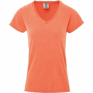 Basic v hals t shirt comfort colors perzik oranje dames