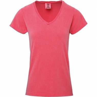 Basic v hals t shirt comfort colors watermeloen roze dames