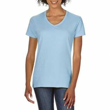 Basic v hals t shirt licht blauw dames