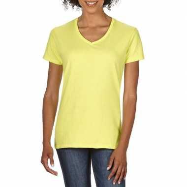 Basic v hals t shirt licht geel dames