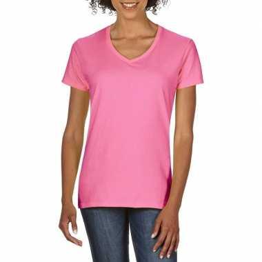 Basic v hals t shirt licht roze dames