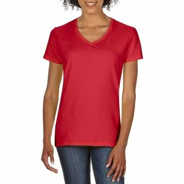 Basic v hals t shirt rood dames