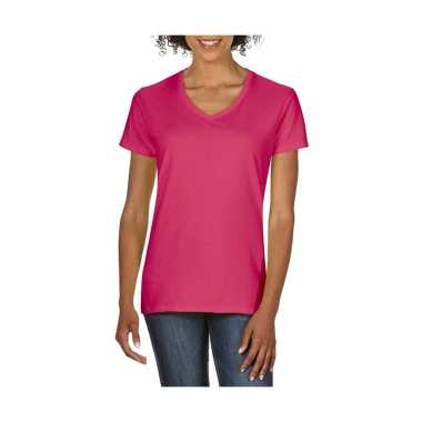 Basic v hals t shirt roze dames