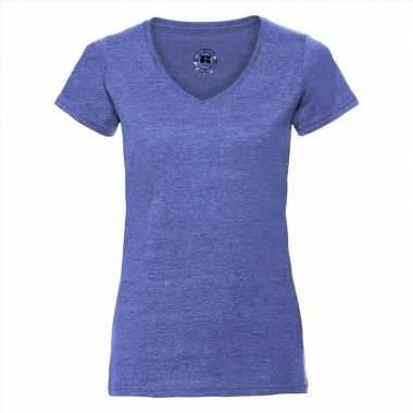 Basic v hals t shirt vintage washed denim blauw dames