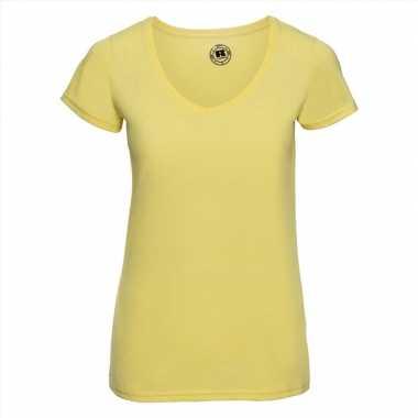 Basic v hals t-shirt vintage washed geel dames