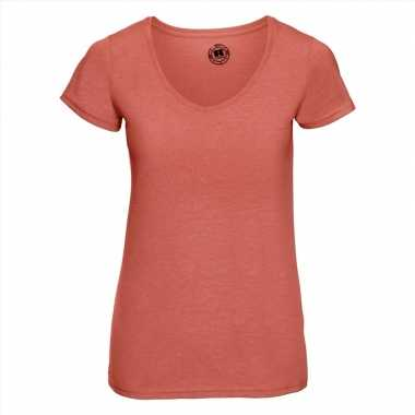 Basic v hals t shirt vintage washed koraal oranje dames