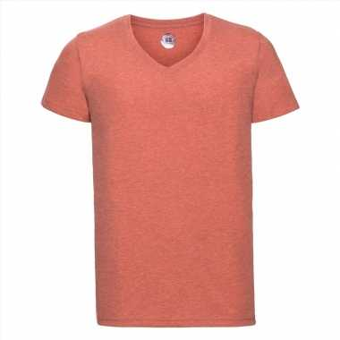 Basic v hals t shirt vintage washed koraal oranje heren
