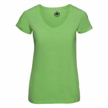 Basic v hals t shirt vintage washed lime dames