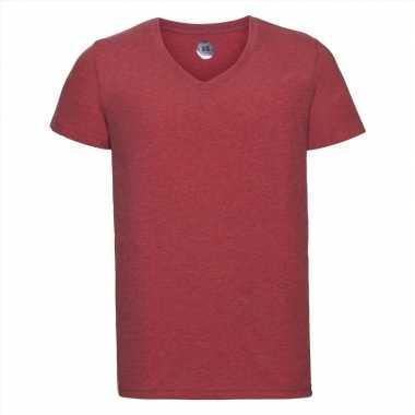 Basic v hals t shirt vintage washed rood heren