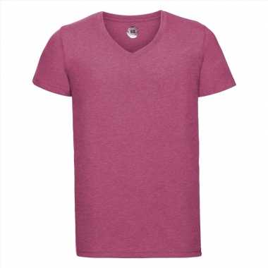 Basic v hals t shirt vintage washed roze heren