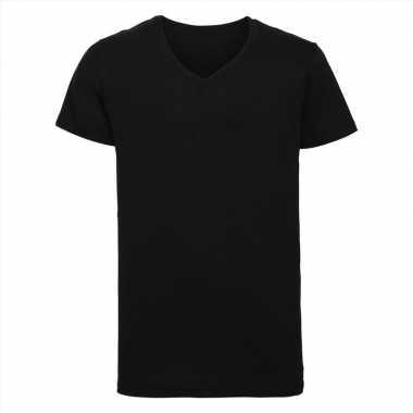 Basic v hals t shirt vintage washed zwart heren