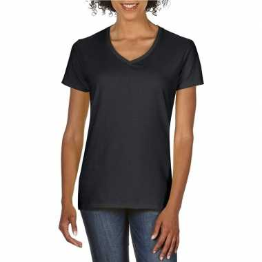 Basic v hals t shirt zwart dames