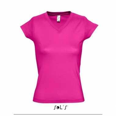 Dames t-shirt V-hals fuchsia