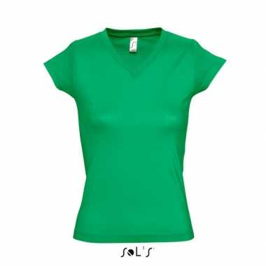 Dames t-shirt V-hals grasgroen