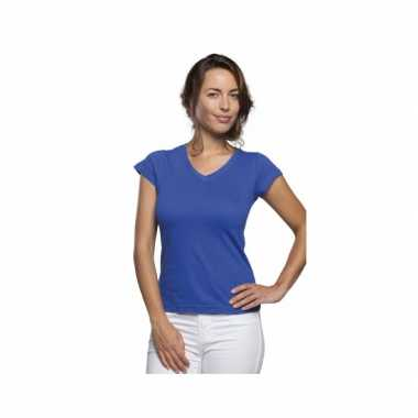 Dames t-shirt v hals kobalt blauw