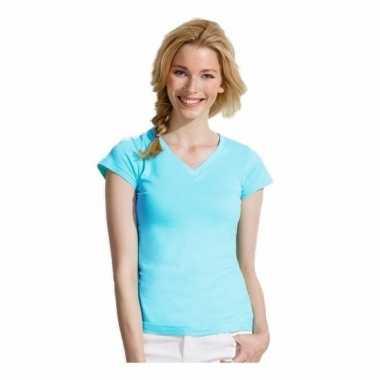 Dames t-shirt v hals lichtblauw