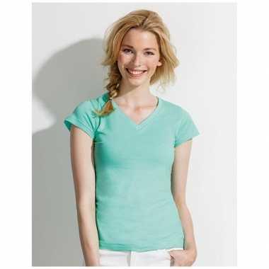 Dames t-shirt v hals mint groen
