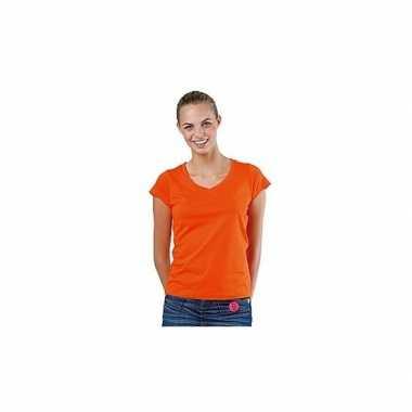 Dames t-shirt V-hals oranje