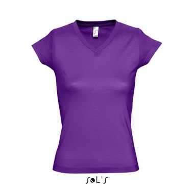 Dames t-shirt V-hals paars