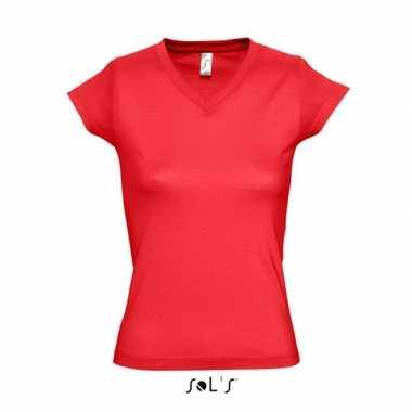 Dames t-shirt V-hals rood
