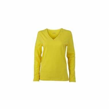 Geel dames v-hals shirt lange mouw