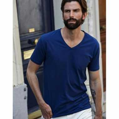 Indigo blauw stretch shirt v hals