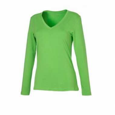 Lime dames v-hals shirt lange mouw