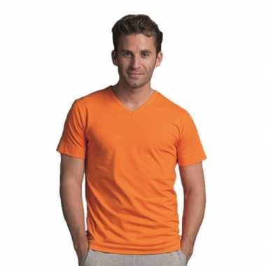 Oranje heren t-shirt v-hals