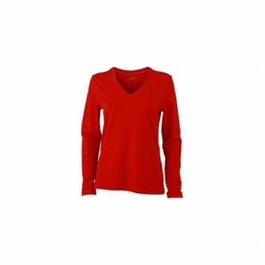 Rood dames v-hals shirt lange mouw