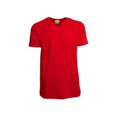 Rood heren t-shirt v hals