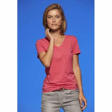 Roze dames stretch t-shirt v hals
