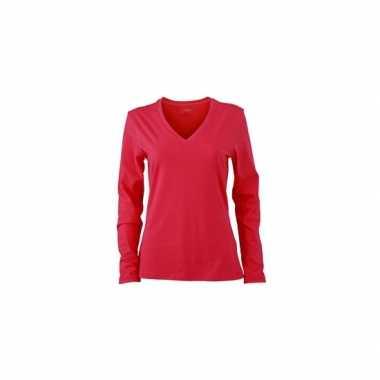 Roze dames v hals shirt lange mouw