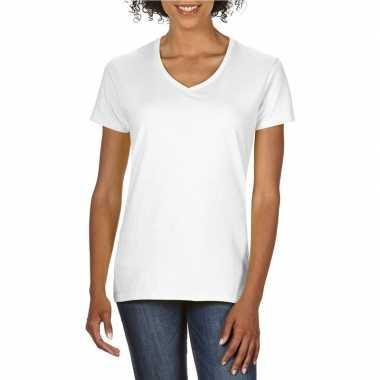 Set stuks basic v hals t shirt wit dames, maat: l (/)