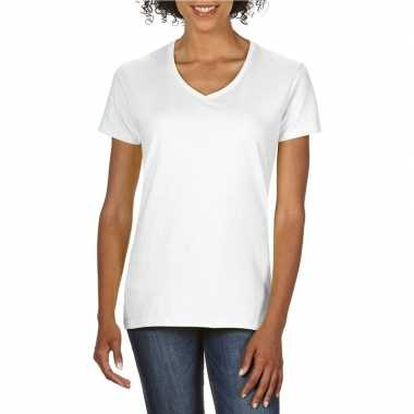 Set stuks basic v hals t shirt wit dames, maat: xl (/)