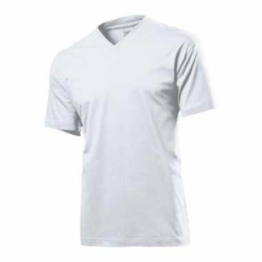 Set stuks wit basic heren t shirt v hals grams katoen, maat: large