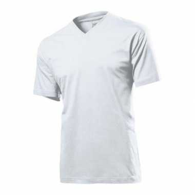 Set stuks wit basic heren t shirt v hals grams katoen, maat: small