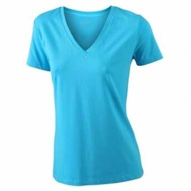 Turquoise dames stretch t-shirt v hals