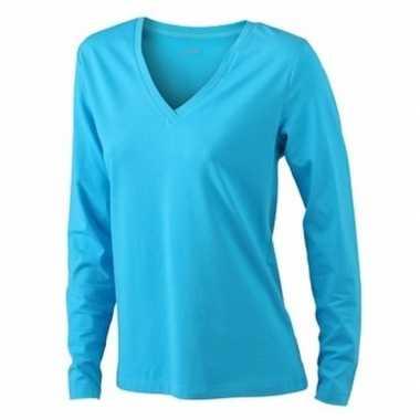 Turquoise dames v hals shirt lange mouw