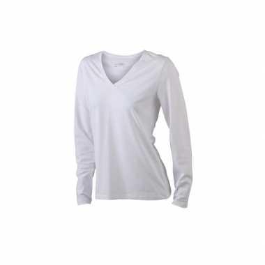 Wit dames v-hals shirt lange mouw